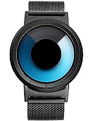 IBSO Men Creative Rotation Watches Hide Watch-head Quartz Wristwatches Sports Waterproof Watch (Blue Black)