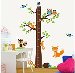 1 X Epie Store(TM) Owl tree jungle animals growth chart nursery wall sticker decor 73\