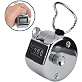 Ktrio Tally Counter 4 Digit Number Counter Clicker Hand Tally Counter Silver Handheld Tally Counter Digit Tally Counter Metal Mechanical Counter Hand Held Clicker To 9999