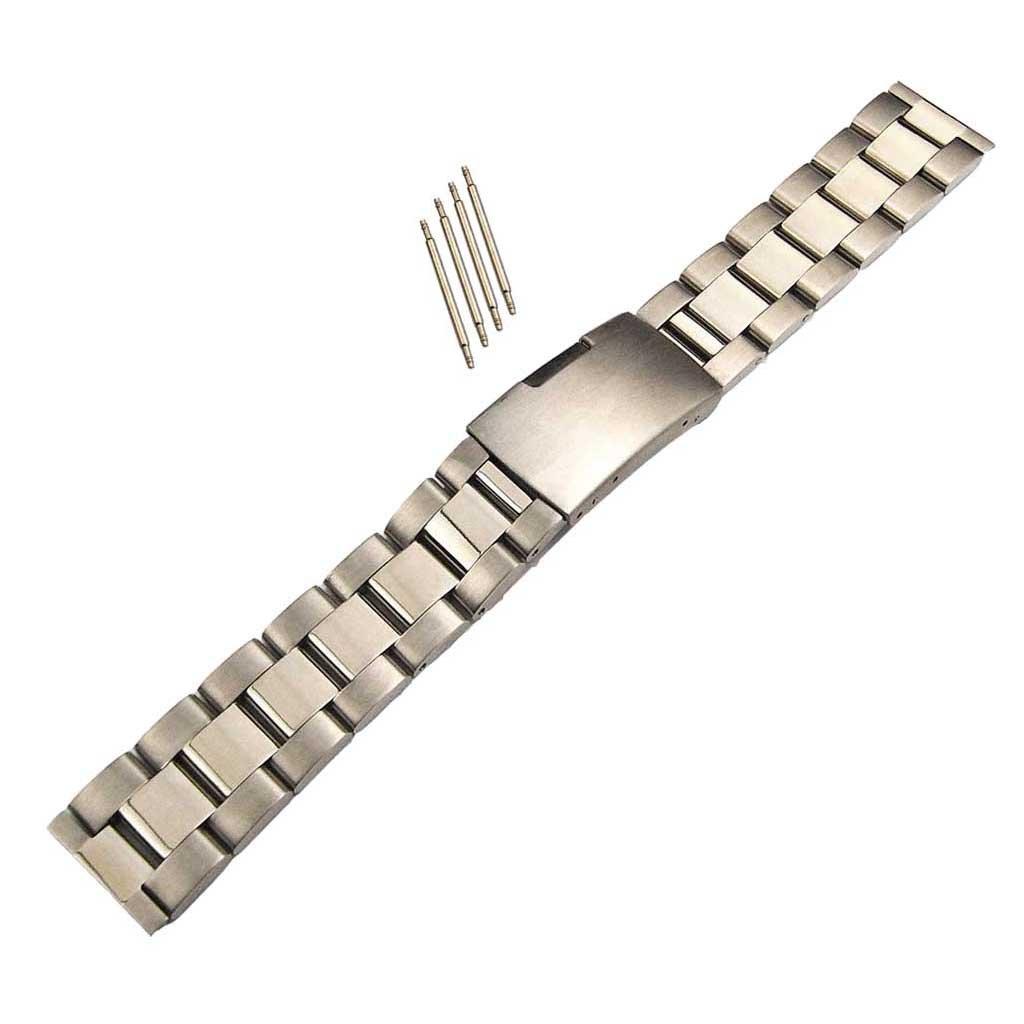 homylステンレススチールブレスレットwith Foldingバックルリンクバンド腕時計バンドストラップシルバークラスプ14 mm-32 mm B0798PPS8W14mm