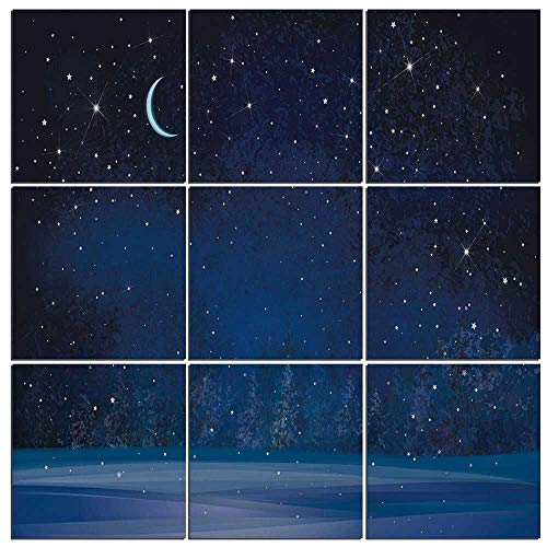 iPrint 9 Piece Canvas Wall Art - Night Modern Home Decor Stretched and Framed Ready to Hang,Winter Wonderland at Night Snowy Woodland Magical Fantastic Forest Nature Scenery,48