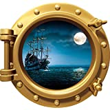 """24"""" Port Scape Instant Sea Window View Ship in Moonlight #1 Bronze Porthole Wall Decal Sticker Graphic Pirate Boat Ocean Kids Bedroom Playroom Nursery Decor Wall Art Room Decor Removable Fabric Vinyl"""