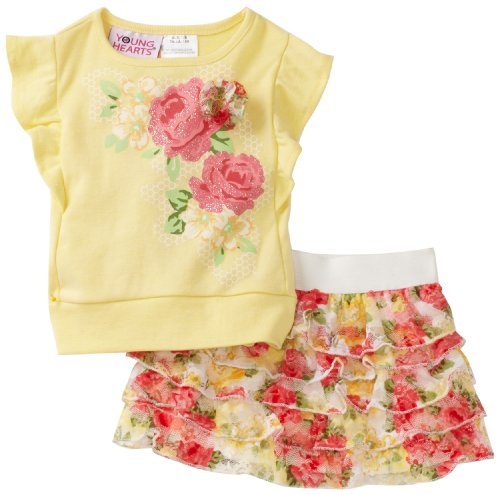 Young Hearts Baby Girls' Knit Top With Floral Design and Matching Lace Skooter Skirt, Lemon Juice, 24 Months