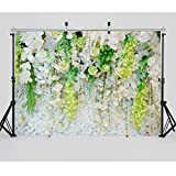 Dobeans 7ft(W) x 5ft(H) Green and White Floral Backdrops Newborn Baby Shower Photography Background Wrinkle Free