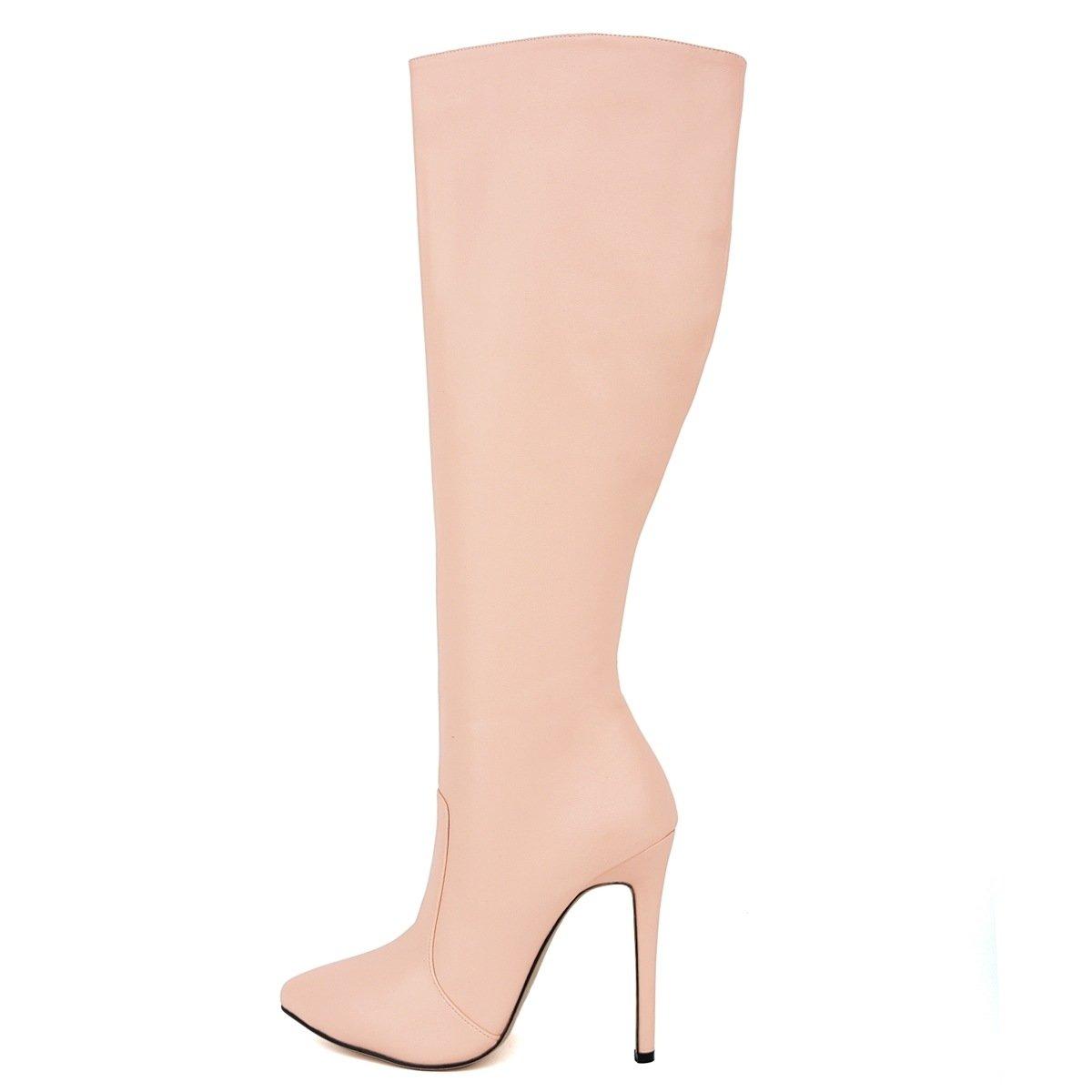 - DYF Chaussures femmes Bottes Tube Long fait Stiletto Talon Fine poudre de couleur solide,Matt,36