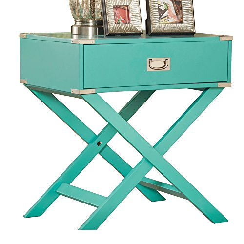 Cheap ModHaus Living ModHaus Teal Green Accent Table with Drawer | Modern Rectangular Shaped with X Base| Wood Finish Includes (TM) Pen