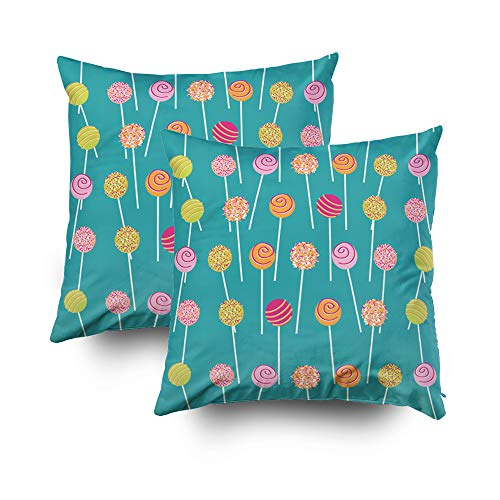 Musesh Pack of 2 Halloween Colorful Cake pops Teal Pattern Cushions Case Throw Pillow Cover for Sofa Home Decorative Pillowslip Gift Ideas Household Pillowcase Zippered Pillow Covers 20X20Inch -