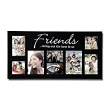 "Adeco PF0029 8-Opening ""Friends Bring Out The Best In Us"" Picture Collage Puzzle Frame - Holds Two 4x4"", Two 4x6"", Two 5x7"" and Two 3.5x5"" Photos - Black, Wood Frame For Wall Hanging Decoration"