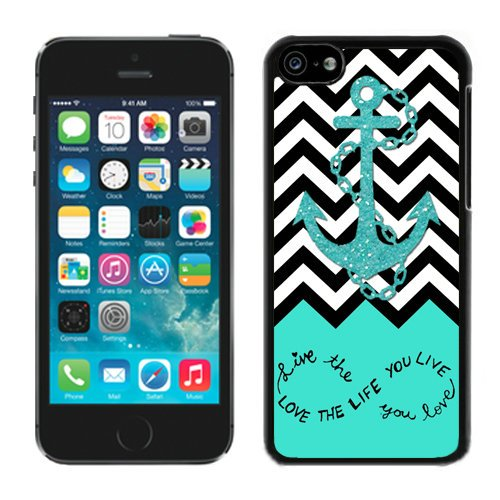 Iphone 5c cases,5c cases,Live The Life You Love, Love The Life You Live. Turquoise Black and White Chevron With Anchor Iphone 5c Case Black Cover (Iphone 5c White Chevron Turquoise)