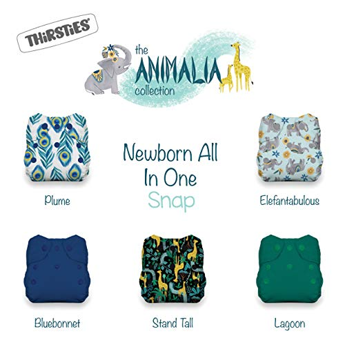- Thirsties Animalia Cloth Diaper Collection Package, Snap Newborn All in One Cloth Diaper, Animalia