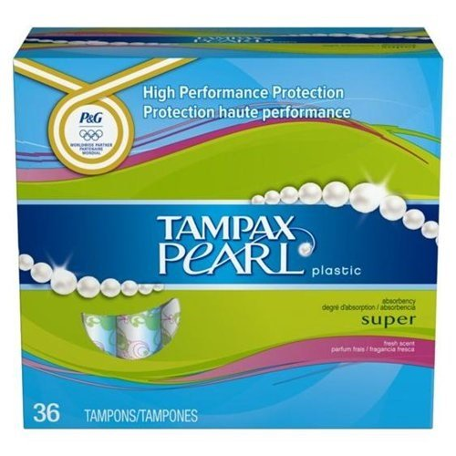 Tampax Pearl Plastic Super Absorbency Tampons, Fresh Scent 36 ea (Pack of 6) by Tampax