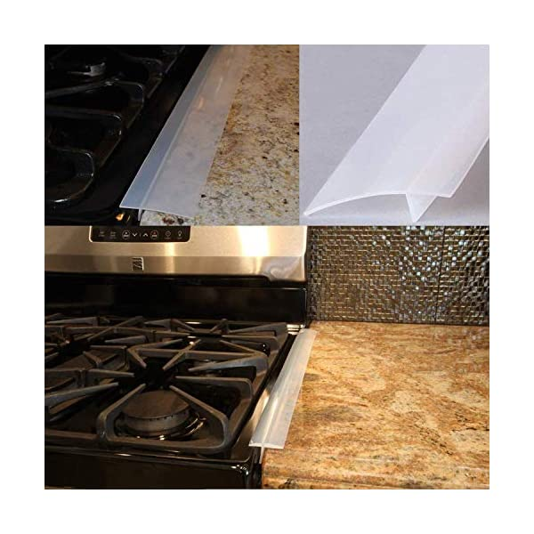 Silicone Gap Cover, (2 Pack) Silicone Gap Stopper Kitchen Stove Counter Gap Covers - 21inches Flexible Stove Space… 4
