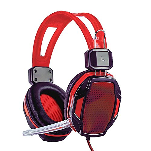 XHKCYOEJ Headset Stereo Headset/Headphones/Headphones/Computer/Games/Internet Cafes,Black Red D: Amazon.co.uk: Electronics