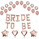 Rose Gold Bride to Be Balloons Banner,Rose Gold Confetti Balloons,Latex Balloons,Hearts,Stars,29 Count,Bachelorette,Bridal Shower Party (Rose Gold)