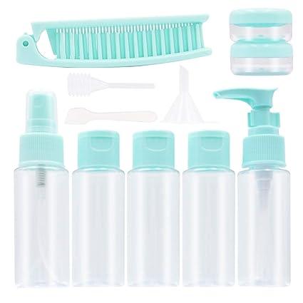 Juego de botellas y tarros de viaje Xelparuca de plástico transparente y portátil, sin BPA