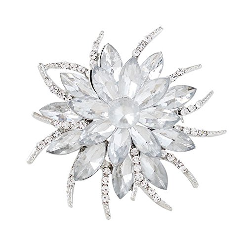 (F&U Flower Brooch Pin Fashion Crystal Corsage for Women in Bouquet Wedding (WHI))