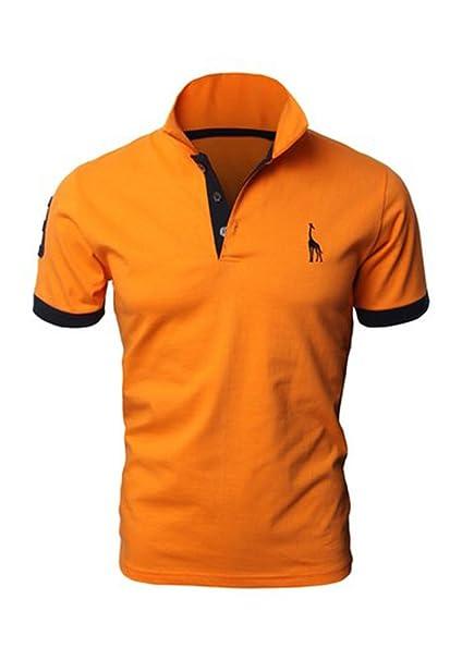 SHIRTQA Mens Casual Sólido Jirafa Polo Camisas con Jirafa Bordado -  Amarillo -  Amazon.es  Ropa y accesorios ce9fe4f52f4e4