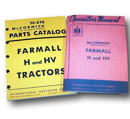 set farmall h hv tractor operators and parts manual catalog owners priority  ship - - amazon com