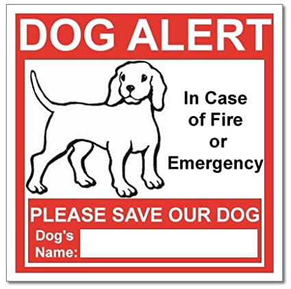 SecurePro Products 6 Dog Alert Safety Warning Window Door Stickers; In Case  Of Fire Notify