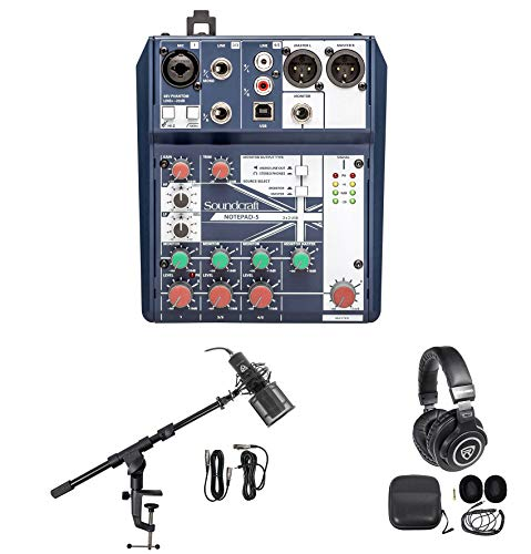 Gaming Twitch Stream Recording Bundle Soundcraft Mixer+Headphones+Pro Mic+Boom