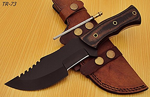 Poshland Knives TR-73 - Powder Carbon Coated Tracker Knife - Stunning Micarta Handle