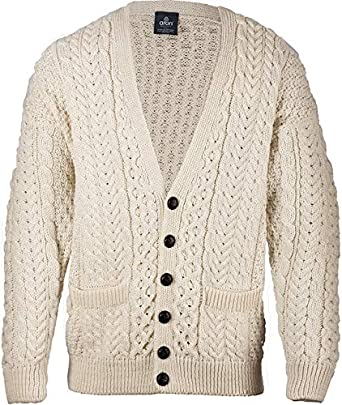 Aran Woollen Mills Mens Merino Wool Irish V-Neck Knit Cardigan