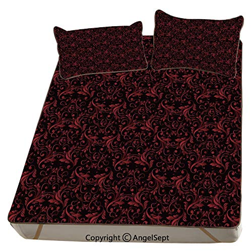 Red and Black,Summer Cooling Mat 3D Printing Foldable Folding Summer Ice Silk Cover Cool Mat with Pillowcase(FULL) Victorian Floral Design with Ivy Swirls Flowers Ethnic Design Image Print Decorative ()