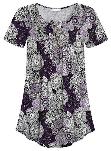 Esenchel Women's Loose Henley Blouse Flowy Tunic Top 4X Purple Paisley