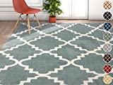 "Well Woven Harbor Trellis Light Blue Moroccan Lattice Modern Geometric 9 x 13 (9'3"" x 12'6"") Area Rug Thick Soft Plush Shed Free Review"
