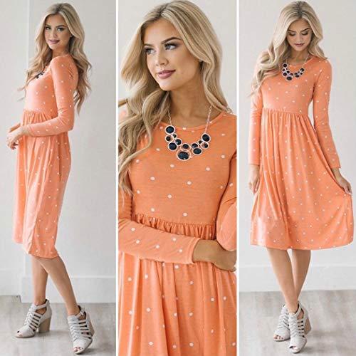Orange Dresses Sleeve Short Womens ECOWISH 085 Midi Vintage Pockets Waist Summer Floral Elastic Dress with Retro fXxXZw5qI