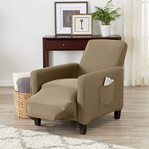 Great Bay Home Form Fit, Slip Resistant, Strapless Slipcover Includes Bonus Lint Roller. Furniture Protector Featuring Super Soft Jersey Knit Fabric. Seneca Collection (Recliner, Warm Sand)