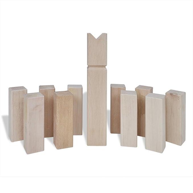 vidaXL Set Juego Tardicional Kubb de Exterior de Madera de Pino de 21 Piezas