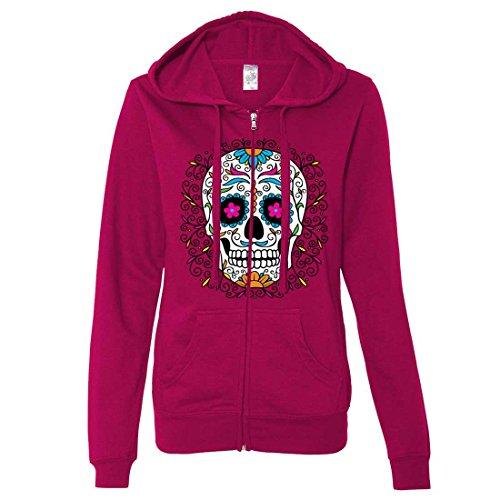 Dia De Los Muertos Pastel Sugar Skull Ladies Zip-Up Hoodie - Brite Pink X-Large ()