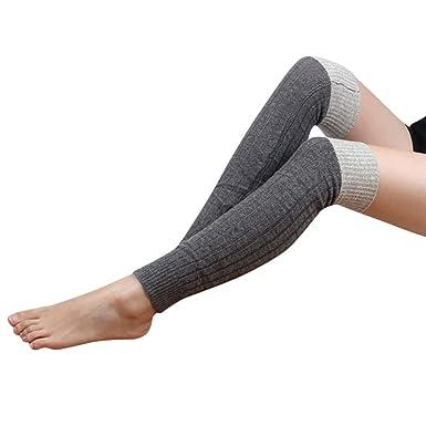 00eb94e2893 ZYUEER Chaussettes Japonaises Femme Chaussettes De Genou Tricot Doux Crochet  Chaussette Legging Socquettes Patchwork (Gris foncé)  Amazon.fr  Vêtements  et ...