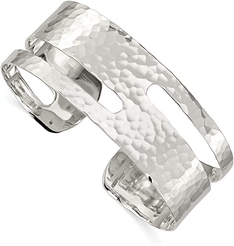 925 Sterling Silver Polished Fancy Cuff Bangle Bracelet