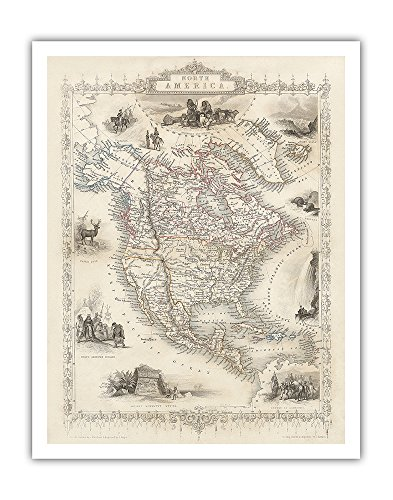 Pacifica Island Art Map of North America - Central America from Greenland to Panama - Vintage Colored Engraved Cartographic Map by J. Rapkin c.1851 - Fine Art Print - 11in x 14in