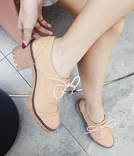 Thick Up Sole Beige Casual Aisun Round Platform Heel Medium Toe Pumps Shoes Lace Stacked Womens BqEqwgfxnT