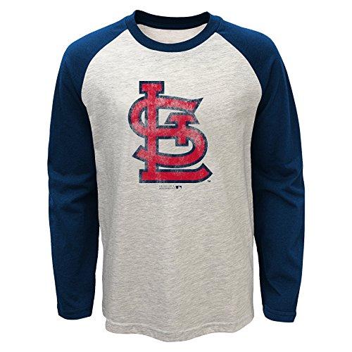 MLB St. Louis Cardinals Youth Boys 820 Long Sleeve Raglan Tee, X-Large(18), Oatmeal Heather (Louis Cardinals Long Sleeve)