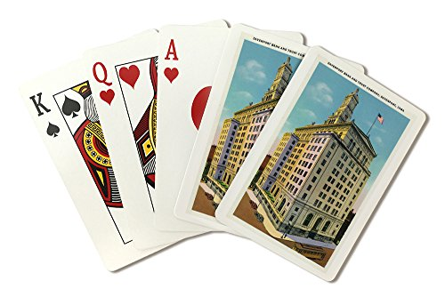 Davenport, Iowa - Exterior View of the Davenport Bank and Trust Company Building (Playing Card Deck - 52 Card Poker Size with Jokers) from Lantern Press