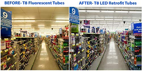 (30 PACK) T8, T10, T12, 4FT LED Glass Type A & B Tube Works with existing ballast or bypass ballast either one-end direct or two-end direct 18W; 2,200 Lumens; Cool White 4000K; AC120-277V by QUEST MANUFACTURING (Image #6)