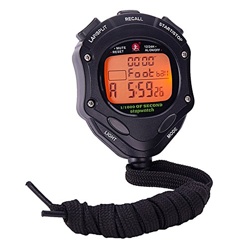 Backlight 1/1000 Seconds Accuracy Procoach Sports Stopwatch Alarm Clock with Double Separate Memory (Memory Stopwatch Timer)