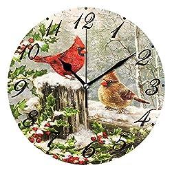 Pfrewn Winter Cardinal Birds Wall Clock Silent Non Ticking Christmas Snowflake Cherry Animal Clocks Battery Operated Vintage Desk Clock 10 Inch Quartz Analog Quiet Bedroom Living Room Home Decor