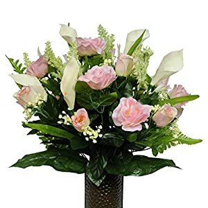 Pink Rose and Calla Lily Mix Artificial Bouquet, featuring the Stay-In-The-Vase Design(c) Flower Holder (SM1253) 21