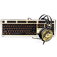 [GOLD BUNDLE] Optical Gaming Keyboard & Headset Bundle in Gold - Light Strike Optical Switches (Faster Than Mechanical/0.2ms Response) & 40mm Carbon Fiber Driver Gaming Headset with Mic Boom