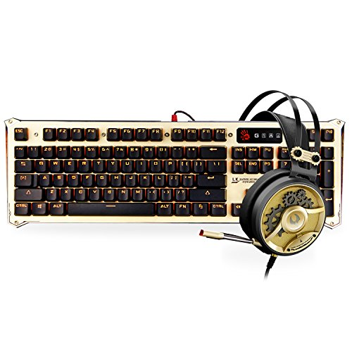 [Gold Bundle] Optical Gaming Keyboard & Headset Bundle in Gold - Light Strike Optical Switches (Faster Than Mechanical / 0.2ms Response) & 40mm Carbon Fiber Driver Gaming Headset with Mic ()