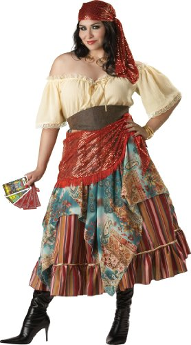 InCharacter Costumes Women's Plus Size Fortune Teller Costume Tan/Red/Blue, XX-Large - Woman Gypsy Costumes