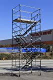 SCAFFOLDING STAIRWAY ROLLING TOWER WITH ADJUSTABLE WHEELS FROM 16'7'' to 17' 7'' DECK HIGH CBM1290