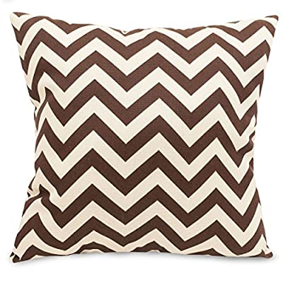"""Majestic Home Goods Chocolate Chevron Indoor / Outdoor Large Pillow 20"""" L x 8"""" W x 20"""" H - Dimensions - 20 in. x 8 in. x 20 in. (approx.) Perfect convenient size for all indoor and outdoor environments. U.V. Treated Covers - these throw pillows uses an outdoor treated polyester cover that offers up to 1000 hours of protection. Water & stain resistance. Ultra Comfortable - the pillows are filled with our Super High Loft PolyFiber Fill to give them an ultra-soft cushion feel. - patio, outdoor-throw-pillows, outdoor-decor - 51ToixoTbQL. SS400  -"""