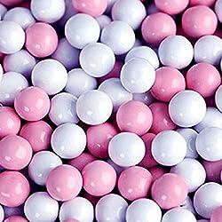 FirstChoiceCandy Sixlets Milk Chocolate Balls (Light Pink & White, 2 LB)