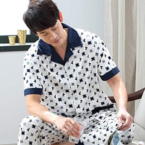 パジャマ CHJMJP 男性のためのメンズパジャマセット夏のコットン半袖パンツセット夏のホームスリーピングスーツ (Color : Yex 7503, Size : XL)